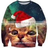 gazing cat blue Christmas unisex 3D printed sweatshirts/blue na plus size 3d fashioable Christmas printed hoodies without hood