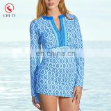 2017 OEM China Supplier One Piece Dress Style Long Sleeve Rashguard With Zip For Women