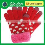 Heart pattern hand knit fingertips gloves conductive gloves