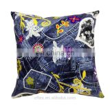 like denim 100 polyester fabric cotton fill printed pillow