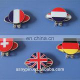 France/Germany/Switzerland/UK/Netherland flag golf hat clip with magnetic ball marker