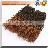 china wholesale omber color remy blonde curly hair extensions