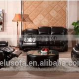Hot Sale Black Leather Living Room Furniture Relaxing Sofa