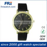 golden case quartz wrist watch with black pu strap customize watches from china