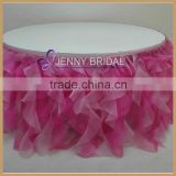 TC012B Custom Made Curly Willow Fancy Wedding Ruffled Table Skirt                                                                         Quality Choice