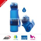 Great sport product cold water bottle food grade silicone foldable bottles                                                                                                         Supplier's Choice