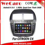 Top Version Android 4.4.4 navigation system double din touch screen car dvd for citroen c4 WIFI 3G tv tuner