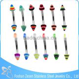 16 Gauge Rainbow Acrylic Cones Eyebrow Ring Piercing Wholesale