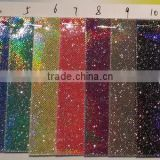 pu glitter leather with colorful laser printing patterns for backpack garment soft hand feelings