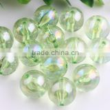 Lime Green Color Bulk Price 10MM to 20MM Stock Round Acrylic AB Effect Transparent Beads for Chunky Necklace Wholesales