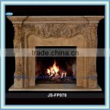 hand carved travertine fireplace mantel