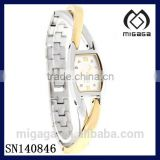 Fashion Quartz Watch bracelet strap-Ladies Crystal Two Tone Bangle Bracelet Quartz Watch