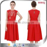 OEM Homecoming Tea Length Sleeveless Red Embroidery Design Dress