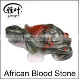 Wholesale Hand Carved Stone Animal Figurines African Blood Stone Turtles Figurines