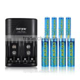 2016 HOT!!! RENEW S2 4Bay Quick Smart AA AAA Battery Charger with 4pcs 2800mAh AA&4pcs 1100mAh AAA Rechargeable Batteries