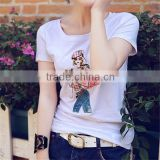 Wholesale Floral Printed T Shirt Rayon Polyester Cotton Fashion Girl Sexy T Shirt