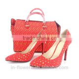 China Wholesale red fabric custom made shoe and bag set (Shoe size 38-41)