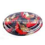 KW1-2101FB Red Golden 6 section Appetizer serving Party Platter Dish Tray with Crystal clear Lids
