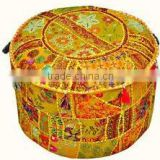 Indian Traditional Home Decorative Ottoman Handmade Pouf Indian Comfortable Floor Cotton Cushion Ottoman Cover