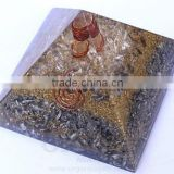 Crystal Quartz Orgonite Aluminium Layer Pyramid With Crystal Point : Wholesale Orgone Products