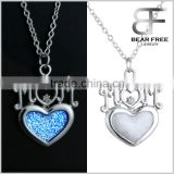MOM Letters & Glow in the Dark Heart Pendant Necklace Blue & Green colors Gift for Mother's Day