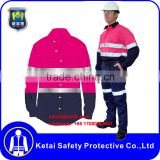 Custom long sleeves cotton wholesale pink reflective safety work shirt / Clothing                                                                                                         Supplier's Choice