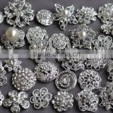 Rhinestone Button Brooch Embellishment Pearl Crystal Wedding Brooch Bouquet Cake Hair Comb Clip Large Assorted Decoration