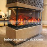 3 sided cast iron electric fireplace