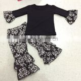 2015 Newest deisgn children's girl balck top damask pant sets baby girls boutique mustard pie clothing remake sets