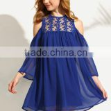 Dresses latest women girl design fashion photos Royal Blue Cold Shoulder Crochet Chiffon Shift Dress