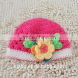 cute flower crochet pattern baby cotton hat handmade crochet baby girl beanie hat wholesales