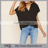 Lady Latest Design Split Neckline, A Flat Collar And Short Sleeves Boxy Popover Women Blouse