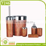 Wood And Metal Design 6 Pieces New Bath Accessory Set