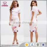 2016 summer fashion stylish short sleeve high-neckline floral printed bodycon dress for women