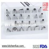24pcs 304 stainless steel cake decorating tips