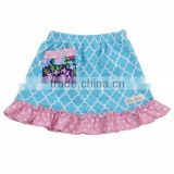 Wholesale 2016 quatrefoil summer mini skirt with pocket ruffle short latest design korean style baby girls fashion skirt
