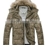 Mens Fake Fur Timming Jacket Duck Down Brand Down Jacket Feather Printed Jacket Suzhou Garment