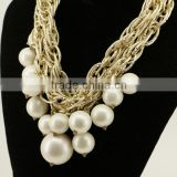 Hot selling K-gold Chain White Faux Pearl Cluster Chunky Choker Statement Bib necklace