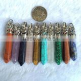 Wholesale Mixed healing Crystal Wand Gems Stone Hexagon Prism Point Pendulum Pendant