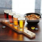 Wooden 4 cups couner stand paddle beer tasting serving paddle cup tray customize hot sale
