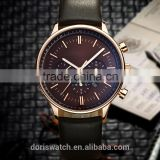 new products with your logo luxury three eyes case leather light at night sports watches men