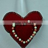 Red Velvet Heart With Glass Beads X-Mas Hanging,Ornament & Decoration for Christmas Tree