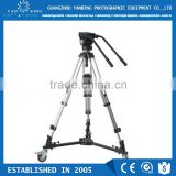 Factory supply manufacturers professionaldouble handle video tripod with spreader for 15kg camcorder
