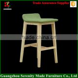 China solid beech wooden bar stool high chair