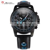 Shark Day Date 24 Hours Display Army Military Genuine Leather Strap Band Sport Wrist Watch