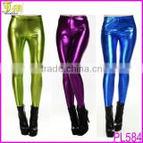 Hot Sexy Lady Girls Faux Leather Metallic Shiny Leggings Tights Black