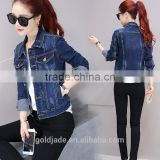 Wholesale clothing women's coat fashion winter jacket long sleeve woman denim jacket