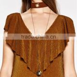 Simple brand leather choker with locket pendant long chain necklace
