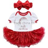 Latest design Hot sale summer dress 2017 wholesale cotton clothing sequin kids short sleeve red baby christmas dress for girl