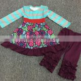 new design bulk wholesale double ruffle stripe kids clothing outfit